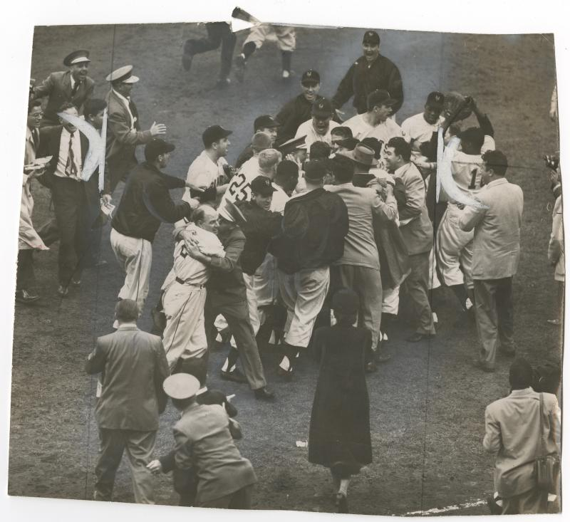 The New York Giants celebrate after winning the 1951 National League championship.