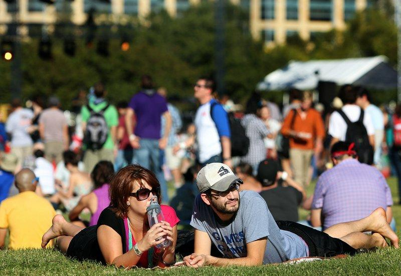 Concert goers kick back at Auditorium Shores during Fun Fun Fun Fest 2012.