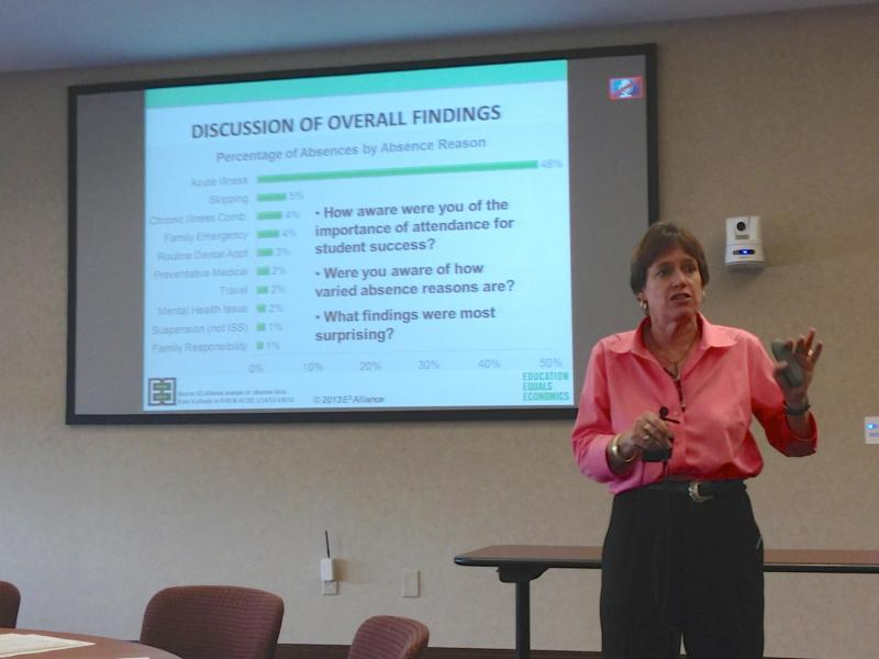 Susan Dawson spoke to 150 educators at a summit, Missing School Matters: Why Students Are Absent in Central Texas