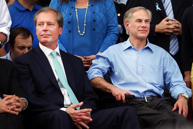 Both Lt. Gov. David Dewhurst (left) and Attorney General Greg Abbott will be affected by the domino effect following Gov. Perry's decision.