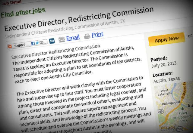 The job listing for Executive Director of Austin's redistricting commission. The group is expected to make additional hires as well.