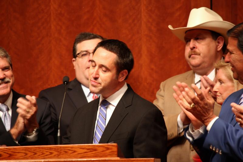 State Sen. Glenn Hegar, R-Katy, speaks at the House Bill 2 signing event on July 18, 2013 at the Capitol.
