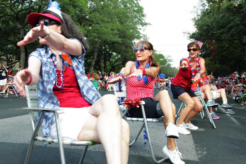 Some Far West residents, known as the Ladies Lawnchair Brigade, joined in on the parade.