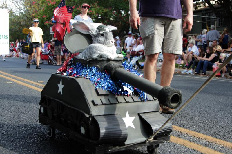 "Part of the Far West Fourth of July parade included a ""21 'Bun Salute,"" with this bunny in a mini-tank."