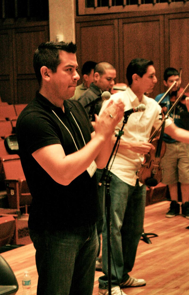 Away from Mariachi Camp, violin instructor Martin Padilla also plays with Mariachi Los Arrieros.