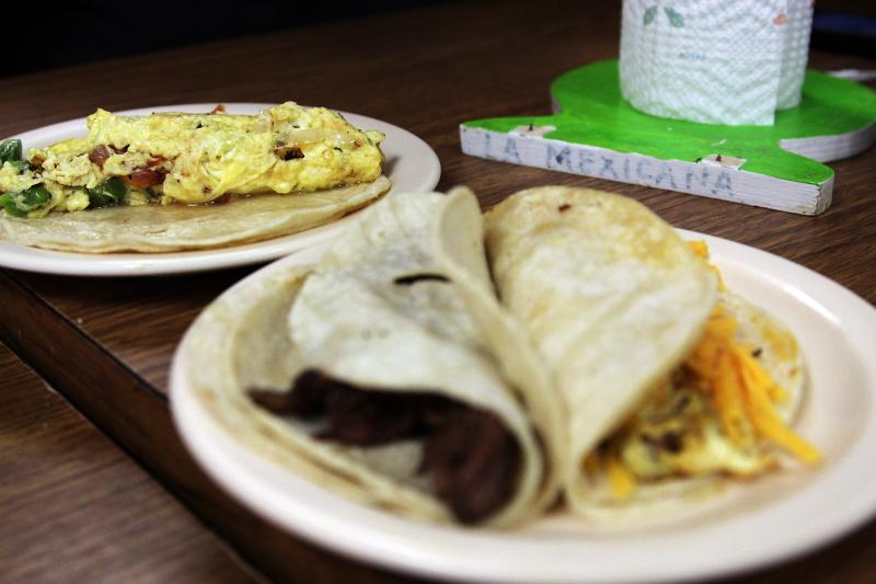 La Mexicana Bakery on South First Street is open 24 hours. Known for its pastries, it also serves breakfast tacos.