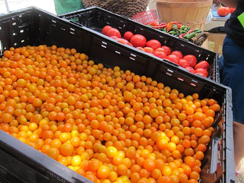 Mini orange tomatoes grown by Urban Roots are for sale at the farm stand in Dove Springs.