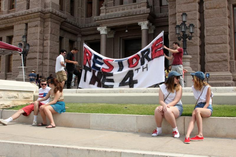 A rally against U.S. surveillance programs took place at the Texas Capitol on July 4, 2013.