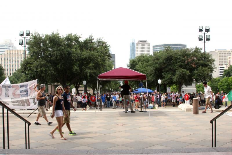 A view from the Texas Capitol as dozens gathered for a rally against U.S. surveillance programs on July 4, 2013.