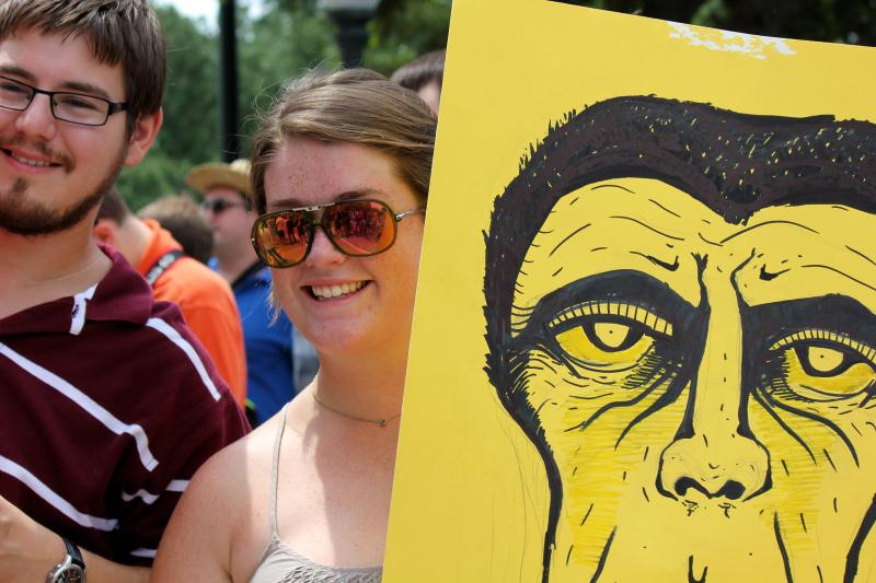 Amy Callender, right, and Taylor Jones, left, took part in a rally at the Texas State Capitol on July 4, 2013 against U.S. surveillance programs.