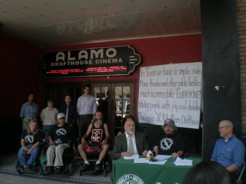 Members of ADAPT of Texas in front of the Alamo Drafthouse Ritz today