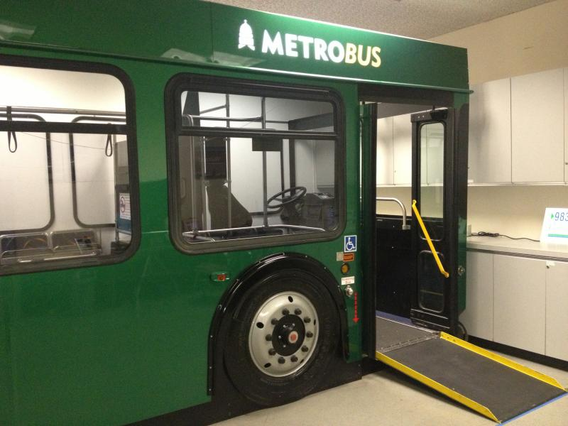 MetroAccess applicants are assessed for their ability to get on and off a mock bus located at Capital Metro's eligibility center downtown.