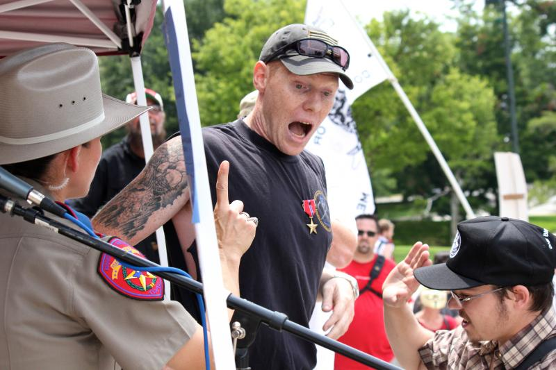 A man who preferred to stay unidentified interrupted a speech at a rally against U.S. surveillance programs on July 4, 2013.