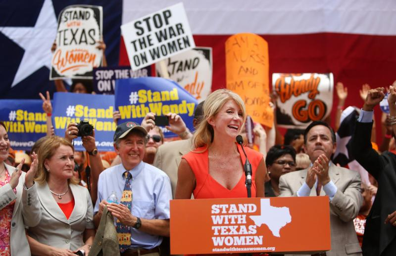 "Sen. Wendy Davis speaking yesterday. ""For years too many Texas politicians have tried to boost their careers by bullying women who need help with their health care,"" Davis said."