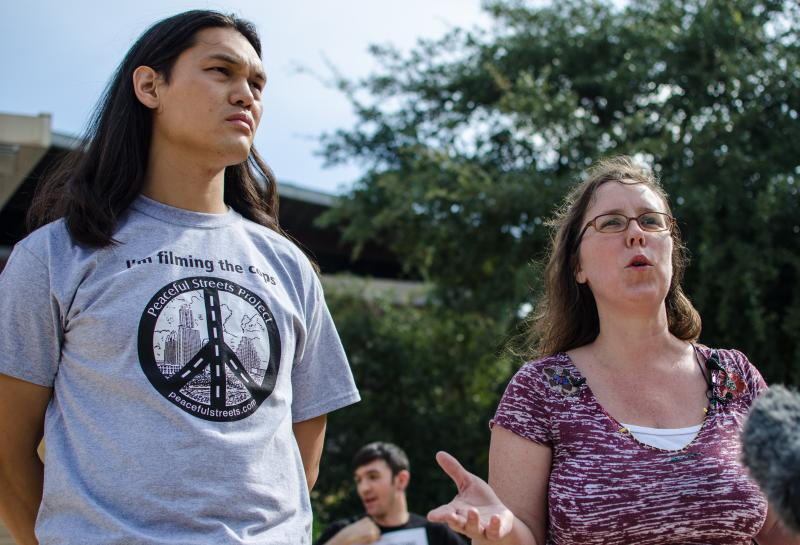 Antonio Buehler and Debbie Russell spoke out against the Austin Police shooting of a civilian last week.