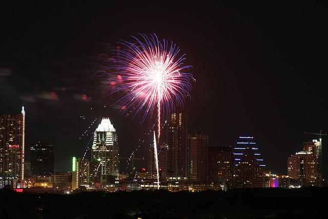 Austin celebrates Independence Day with fireworks each year with a show of fireworks at Auditorium Shores.