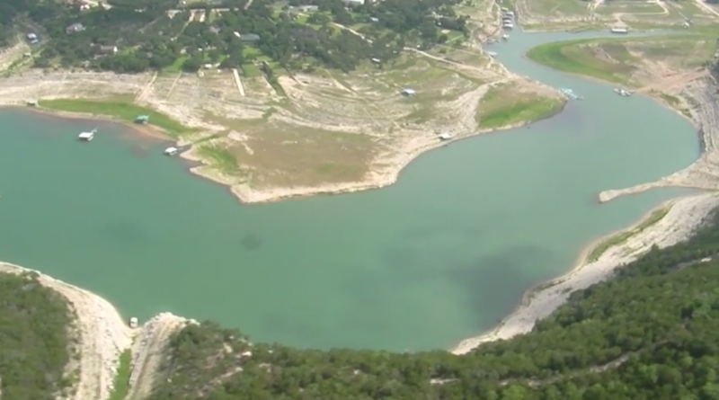 Aerial view of Lake Travis in June
