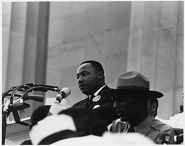Dr. Martin Luther King Jr. speaks at the 1963 March on Washington.