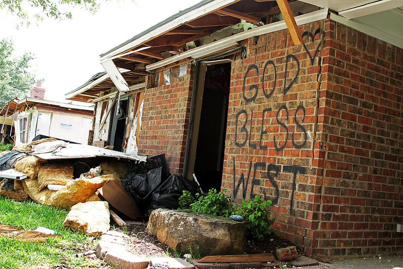 A home devestated by the blast in West, Texas, a month after the April blast. A federal disaster declaration should mean the release of rebuilding funds to West.