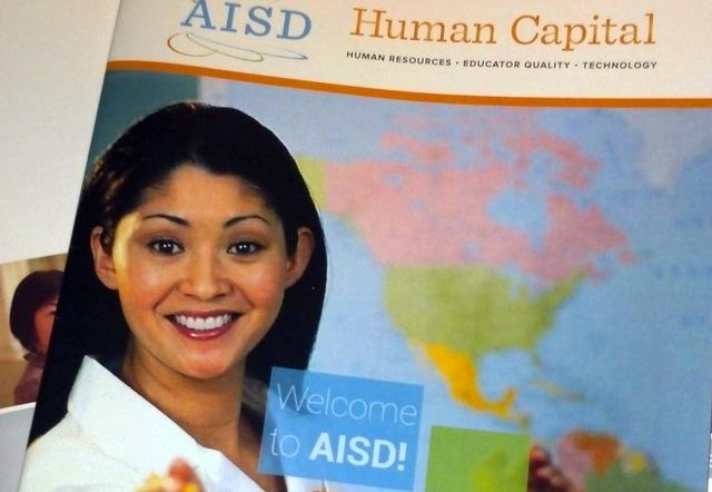 This image of an AISD publication posted on Reddit features the same art as a popular meme: Unhelpful High School Teacher.