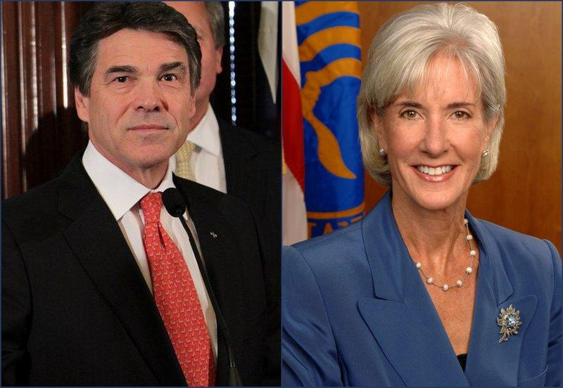 Texas lawmakers including Gov. Perry (l) continue to fight implementation of the Affordable Care Act, administered by H&HS Sec. Kathleen Sebelius.