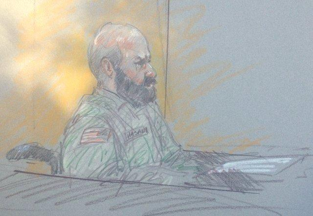 A sketch of Maj. Nidal Hasan delivering his opening statement yesterday. His standby attorneys have asked to be removed from his trial.