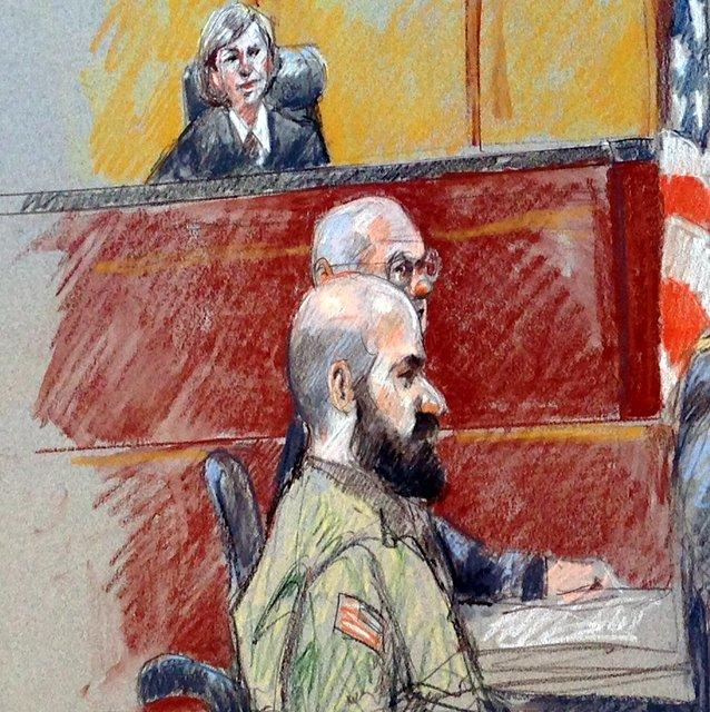 Maj. Nidal Hasan (foreground) at the first day of his court martial in Fort Hood.