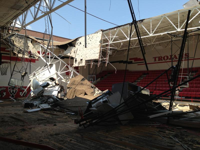April's explosion caused the ceiling of the gym at West High School to collapse.