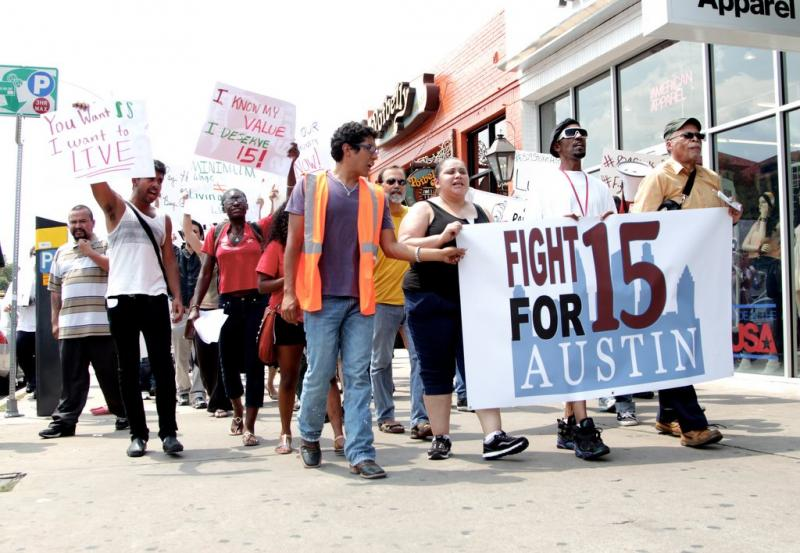 Fast food workers and supporters rallied this afternoon in support of a $15 an hour wage.
