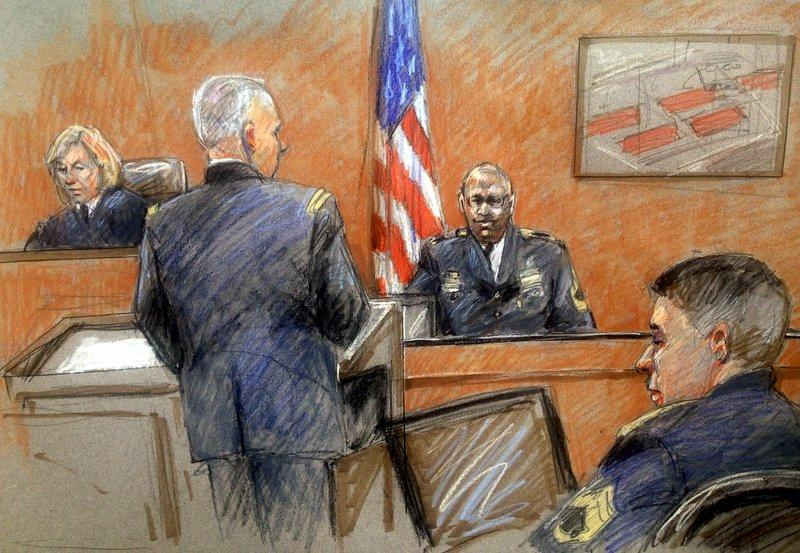 Sketch of Staff Sgt. Alonzo Lunsford testifying in Tuesday's trial.