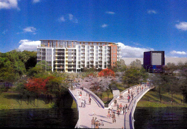 A rendering of the South Lamar Planned Unit Development, slated at the current location of a Taco Cabana at Riverside Drive.
