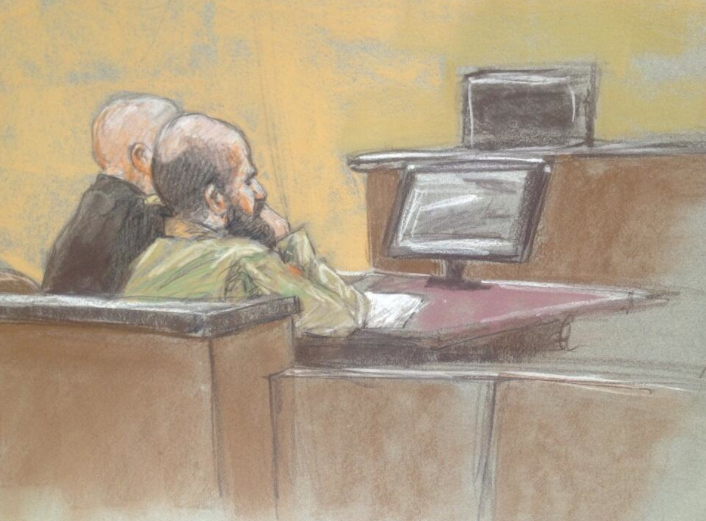 Maj. Hasan during closing arguments. A jury is deliberating whether he is guilty of 13 premeditated murders and 32 attempted premeditated murders at Fort Hood in 2009.