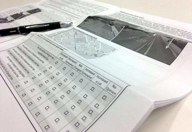 The Neighborhood Street Study is a 12-page survey interested in perceptions of local bike lanes.
