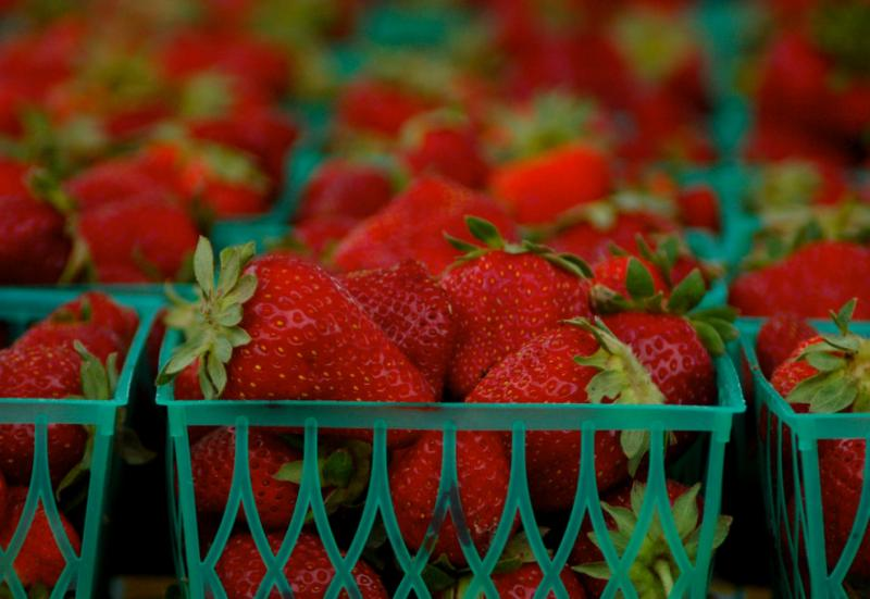 Strawberries for sale at an Austin farmers market. A permanent farmers market is being proposed by the Downtown Austin Alliance.
