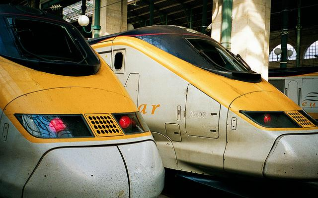 A pair of high-speed Eurostar trains in France. Austin and San Antonio leaders are in initial talks with federal officials regarding a rail project to link the cities.