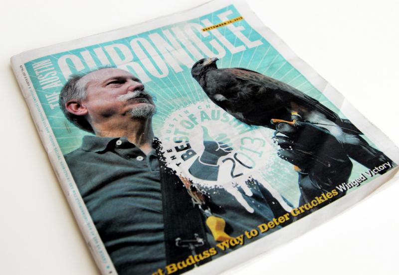 "Master falconer Steve Oleson graces the cover of the Austin Chronicle's ""Best of Austin"" issue this year."
