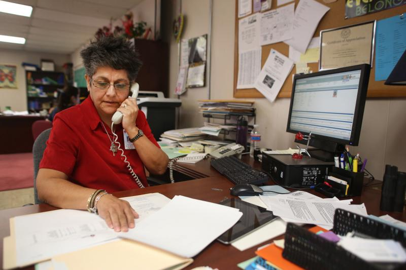 Leonor Vargas is the director of the Mendez Family Resource Center, which provides services to high needs students and families. She says teachers help the center identify students who need help.