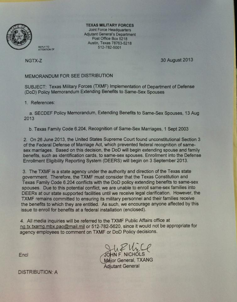 Memo from Texas Army National Guard Maj. Gen. John Nichols, provided to KUT by the American Military Partner Association, an non-profit organization that supports partners and spouses of LGBT troops and veterans.