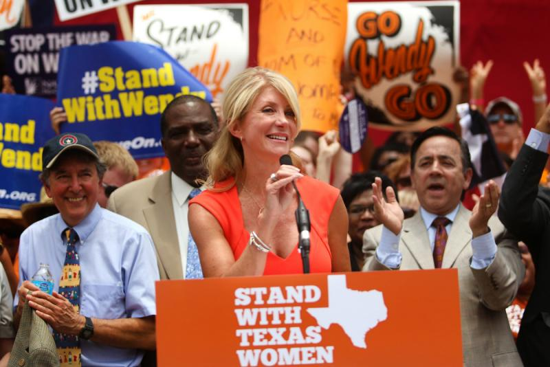 Sen. Wendy Davis, at a rally folllwing her famous filibuster this summer. Supporters are leaking word Davis will run for governor.