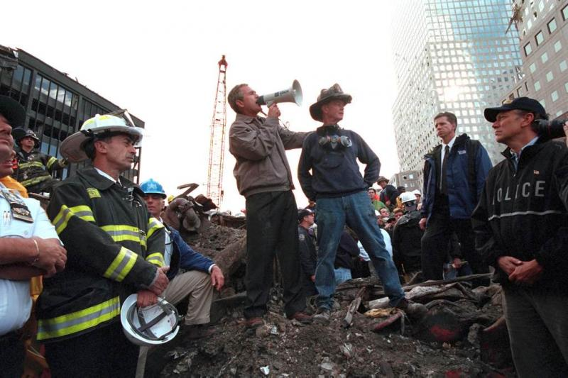"George W. Bush at the former site of the World Trade Center. Draper's work on Sept. 11 ""amounted to suppressing a lot of my feelings."""
