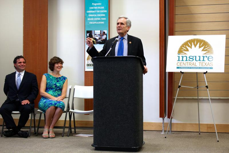 Congressman Lloyd Doggett spoke on Sept. 24, 2013 at a center run by Foundation Communities, where certified application counselors will help consumers with questions about the federal health insurance marketplace.