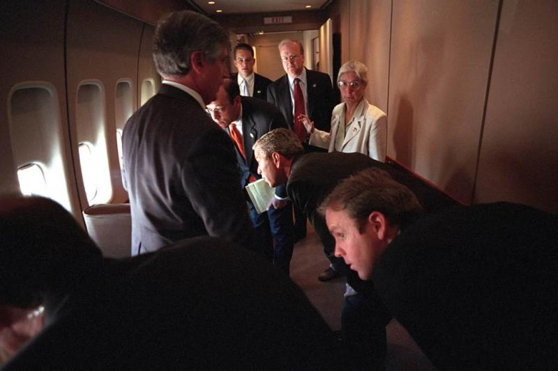 "Draper recalls being aboard Air Force One on Sept. 11. ""Out of the left side of the plane you can see the fighter jets and out of the right side of the plane you can see the plume of smoke still rising from the Pentagon."""