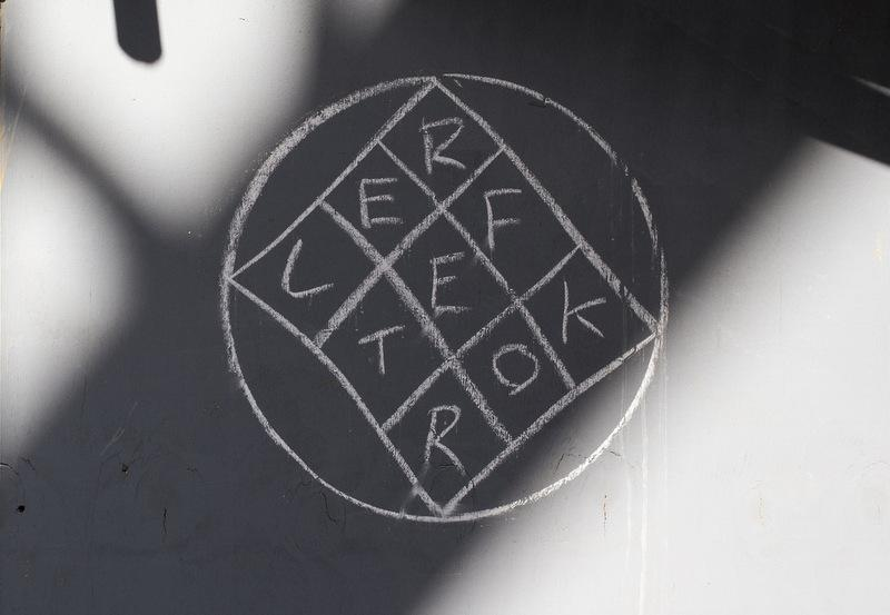The Reflektor symbol seen in London. The Arcade Fire logo is appearing in several other cities, including Austin.