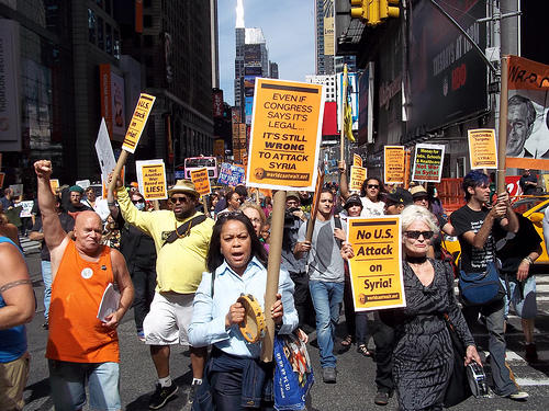 A protest in New York City opposing a U.S. attack on Syria.