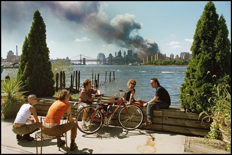 """View from Brooklyn,"" by Thomas Hoepker. ""This is a photograph that sat in a box for five years after 9/11,"" says Hoelscher. It shocked upon its release, but its subjects say critics misread their reactions."