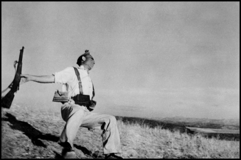 """Death of a Loyalist Militiaman,"" by Magnum co-founder Robert Capa is ""one of the great icons of war photography,"" Hoelscher says."