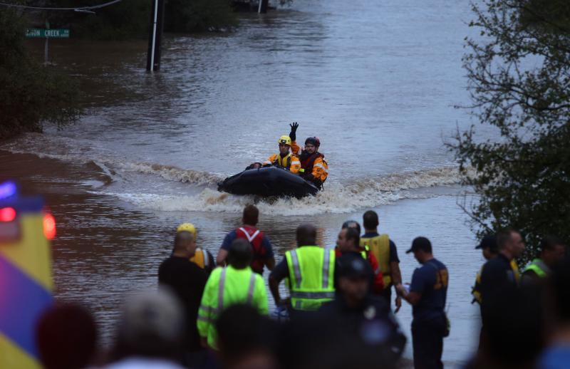 Rescue teams were on the scene in Southeast Austin assisting people stranded in rising flood waters. Heavy rains overnight caused serious flooding all over the Central Texas area.