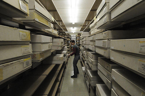 A 2010 photo from when the archives arrived at the Ransom Center.
