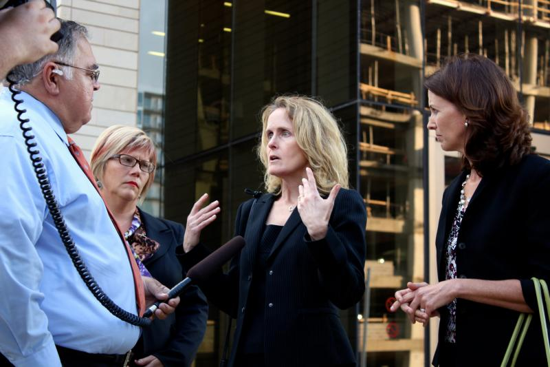L-R: Amy Hagstrom Miller of Whole Woman's Health, Janet Crepps of The Center for Reproductive Rights and Sarah Wheat of Planned Parenthood of Greater Texas speak to reporters after day one of the abortion lawsuit hearing on Oct. 21, 2013.