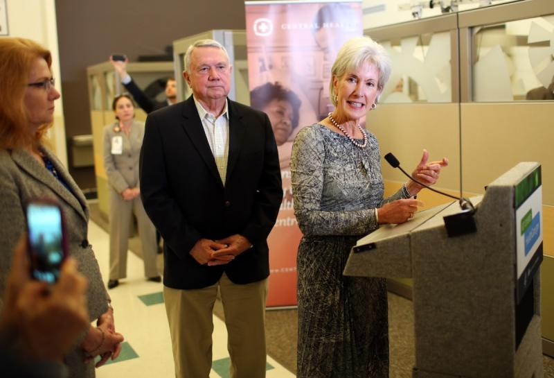 Central Health CEO Patricia Young Brown, left, and Austin Mayor Lee Leffingwell join Secretary Kathleen Sebelius at a CommUnity Care clinic in Austin on Oct. 25, 2013.